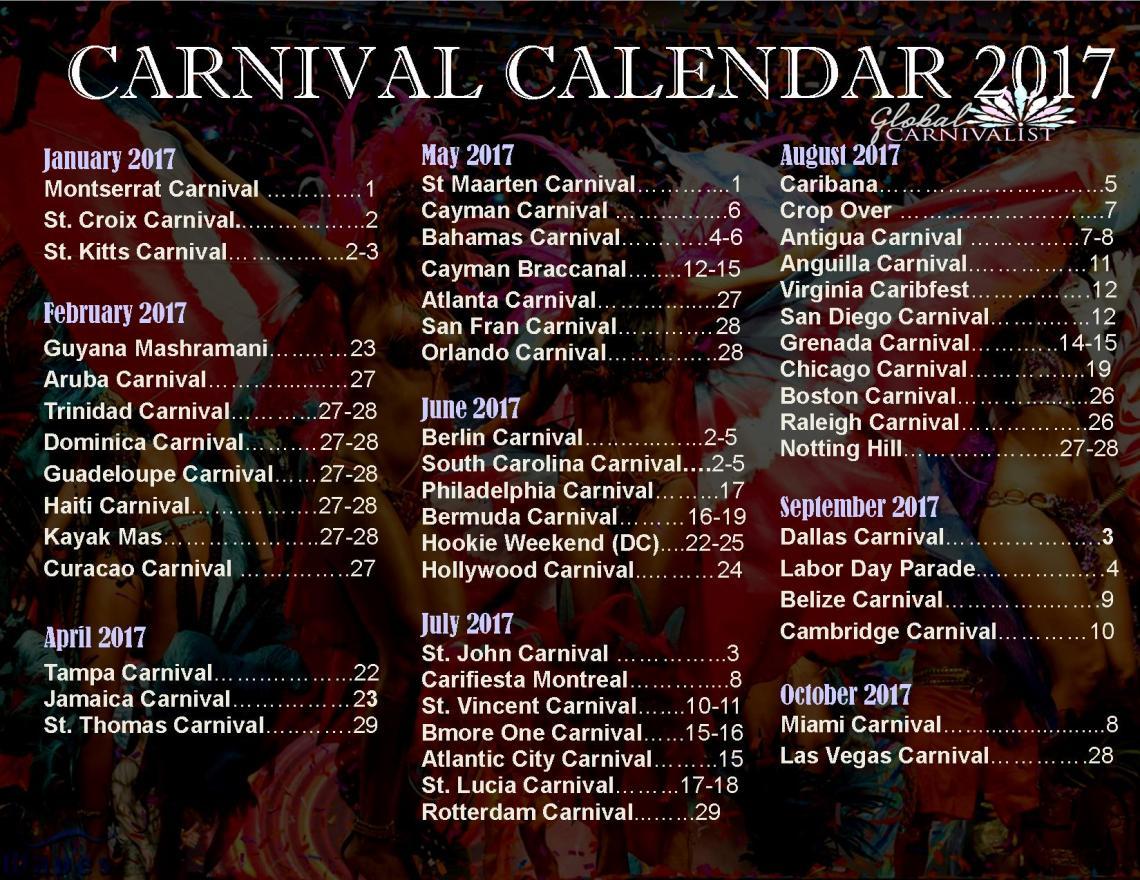 Carnival Calendar - 2017